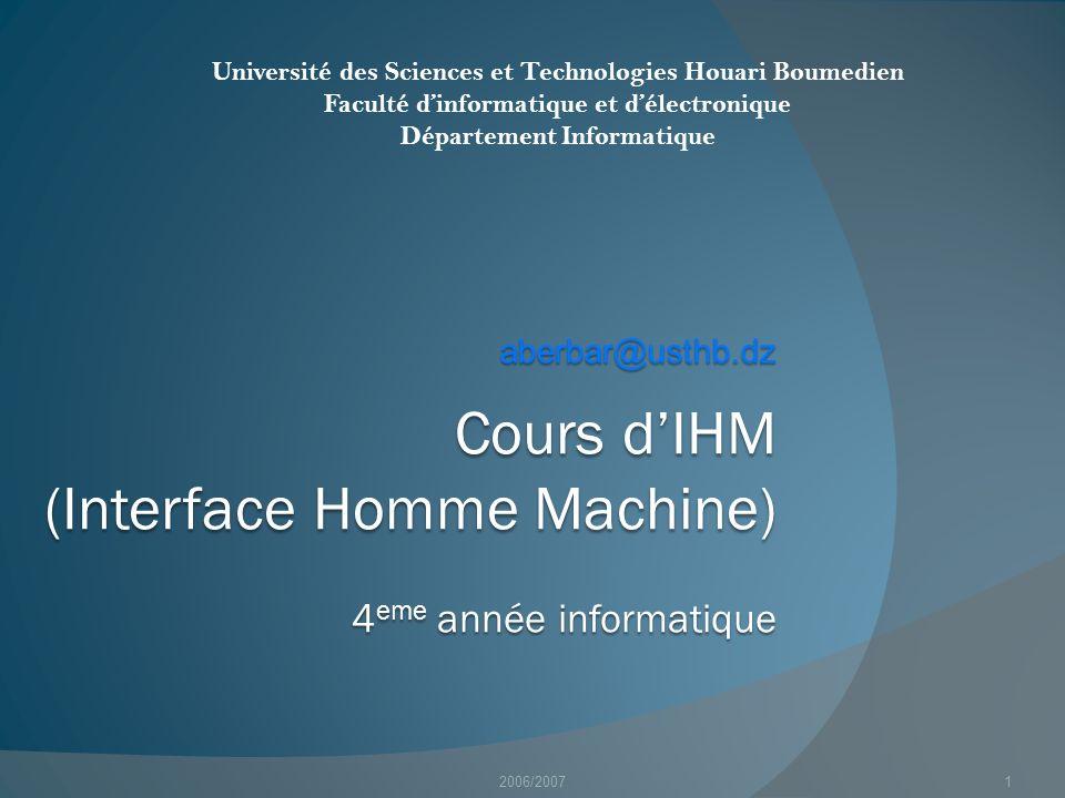 Cours d'IHM (Interface Homme Machine) 4eme année informatique