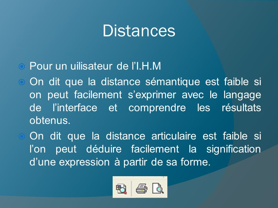 Distances Pour un uilisateur de l'I.H.M