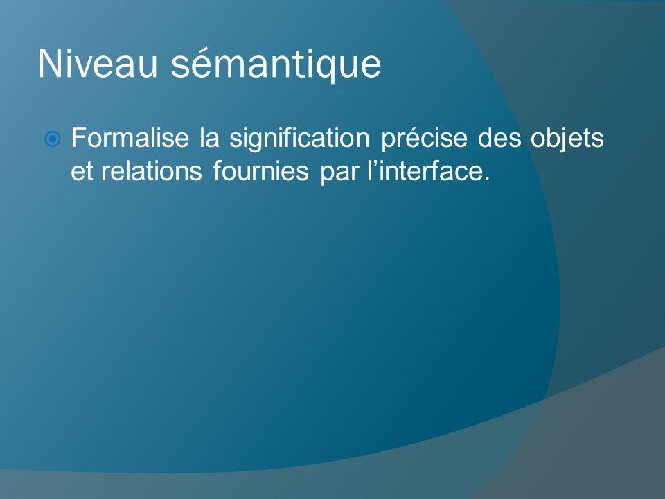 Niveau sémantique Formalise la signification précise des objets et relations fournies par l'interface.
