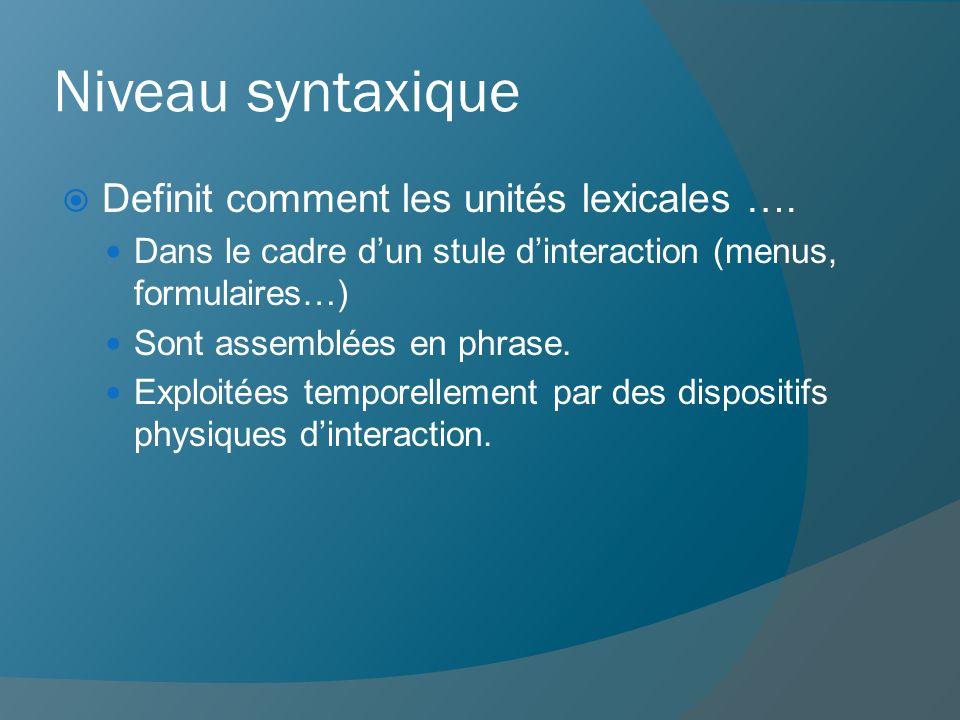 Niveau syntaxique Definit comment les unités lexicales ….