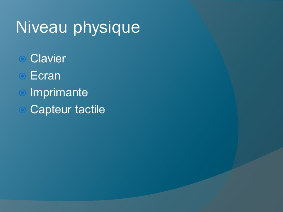 Niveau physique Clavier Ecran Imprimante Capteur tactile