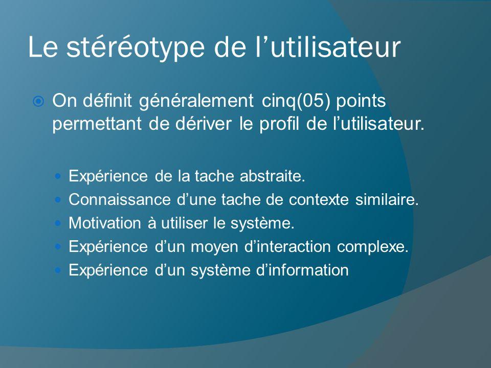 Le stéréotype de l'utilisateur