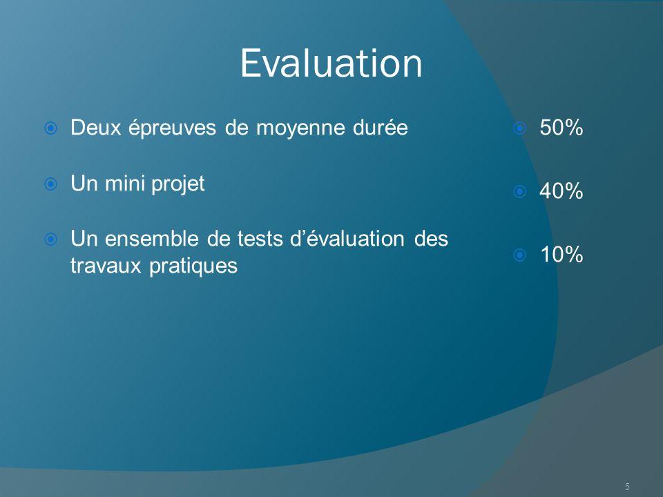 Evaluation Deux épreuves de moyenne durée Un mini projet