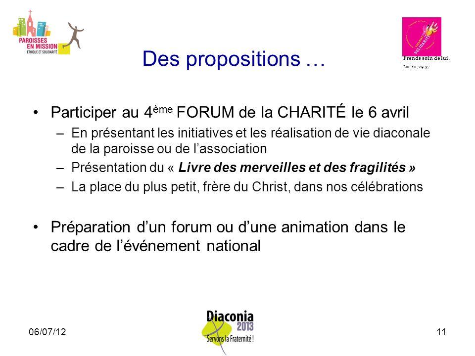 Des propositions … Participer au 4ème FORUM de la CHARITÉ le 6 avril