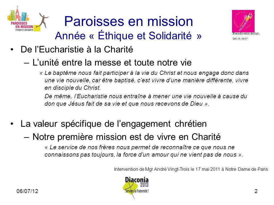 Paroisses en mission Année « Éthique et Solidarité »