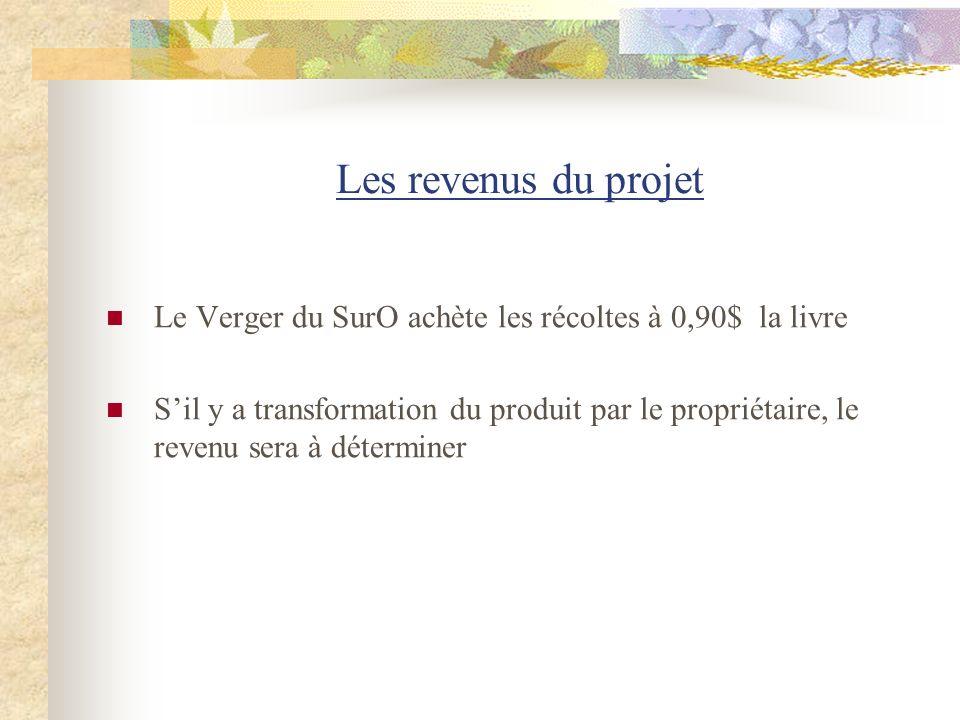 Les revenus du projet Le Verger du SurO achète les récoltes à 0,90$ la livre.
