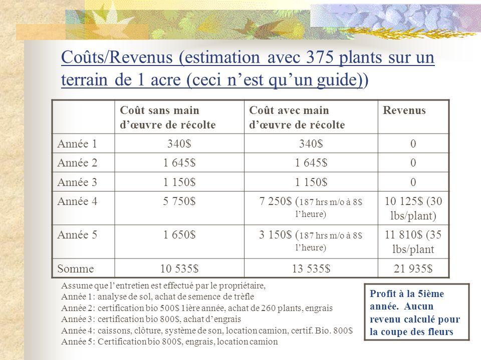 Coûts/Revenus (estimation avec 375 plants sur un terrain de 1 acre (ceci n'est qu'un guide))
