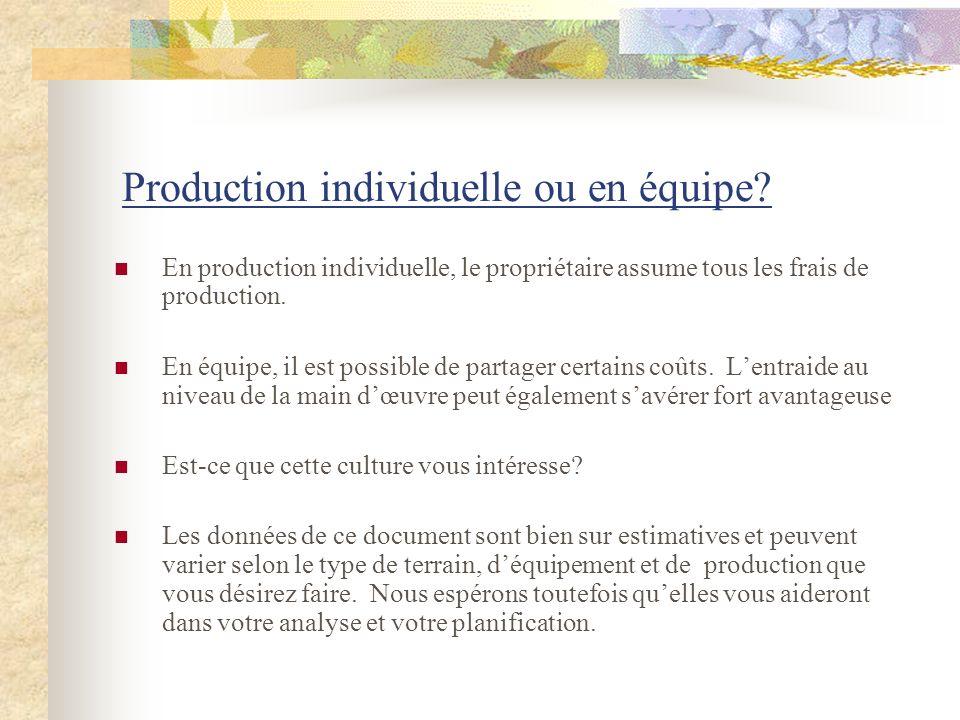 Production individuelle ou en équipe