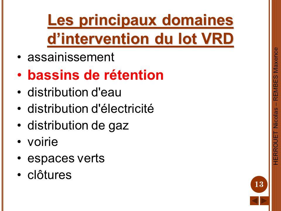 Les principaux domaines d'intervention du lot VRD