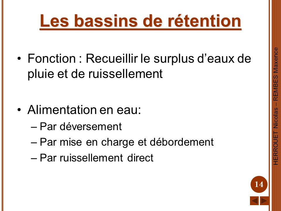 Les bassins de rétention