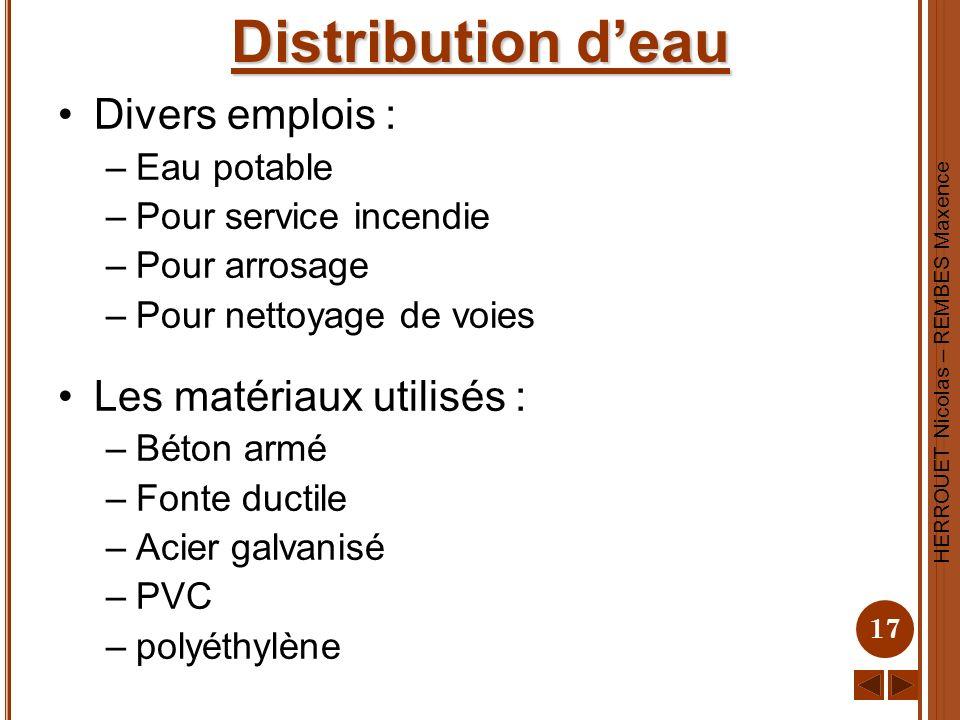 Distribution d'eau Divers emplois : Les matériaux utilisés :