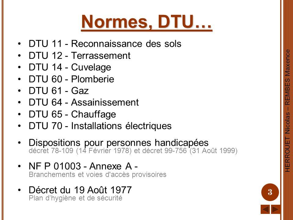 Normes, DTU… DTU 11 - Reconnaissance des sols DTU 12 - Terrassement
