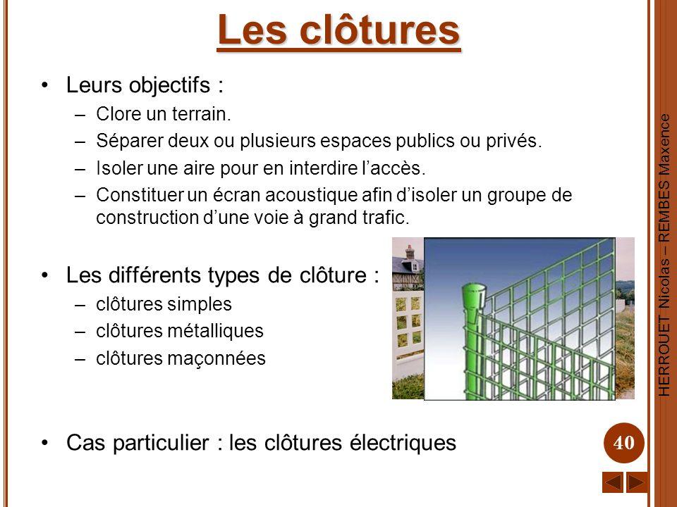 Les clôtures Leurs objectifs : Les différents types de clôture :