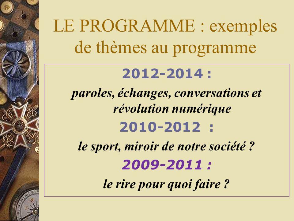 LE PROGRAMME : exemples de thèmes au programme