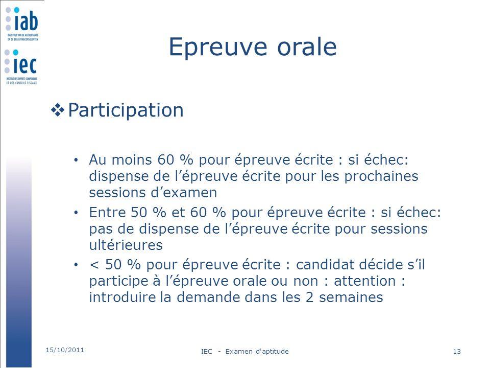 Epreuve orale Participation