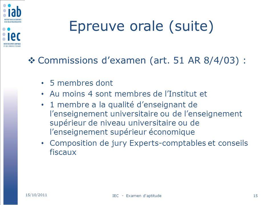 Epreuve orale (suite) Commissions d'examen (art. 51 AR 8/4/03) :