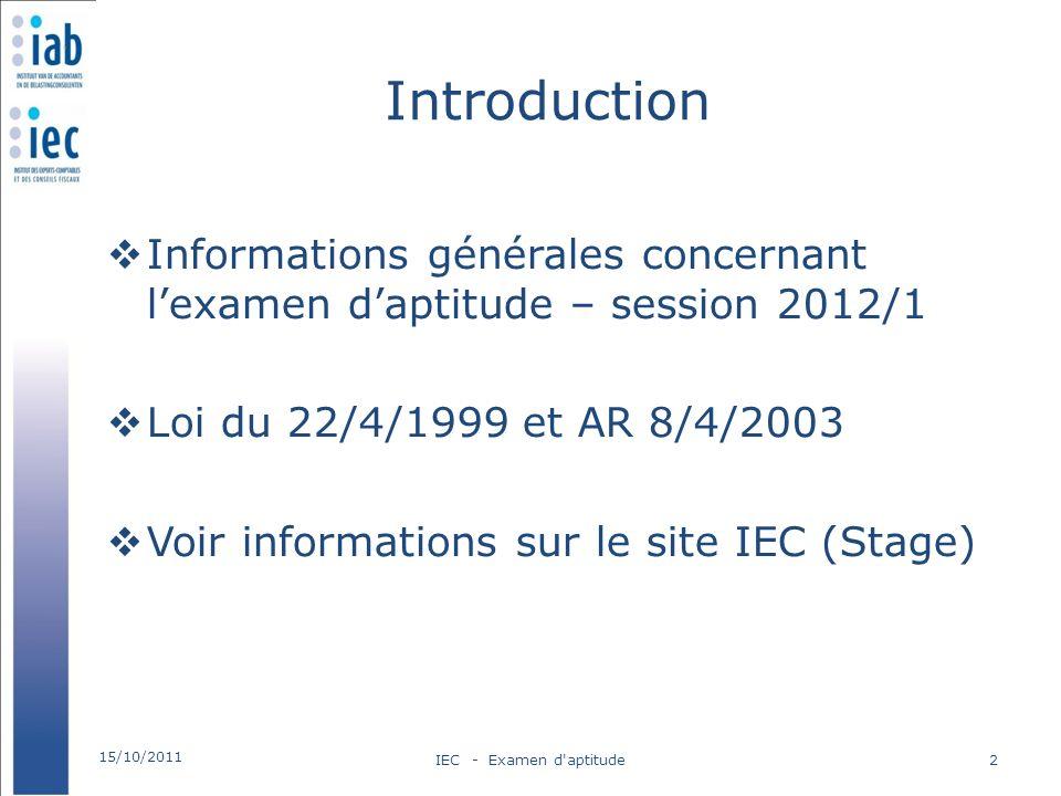 Introduction Informations générales concernant l'examen d'aptitude – session 2012/1. Loi du 22/4/1999 et AR 8/4/2003.