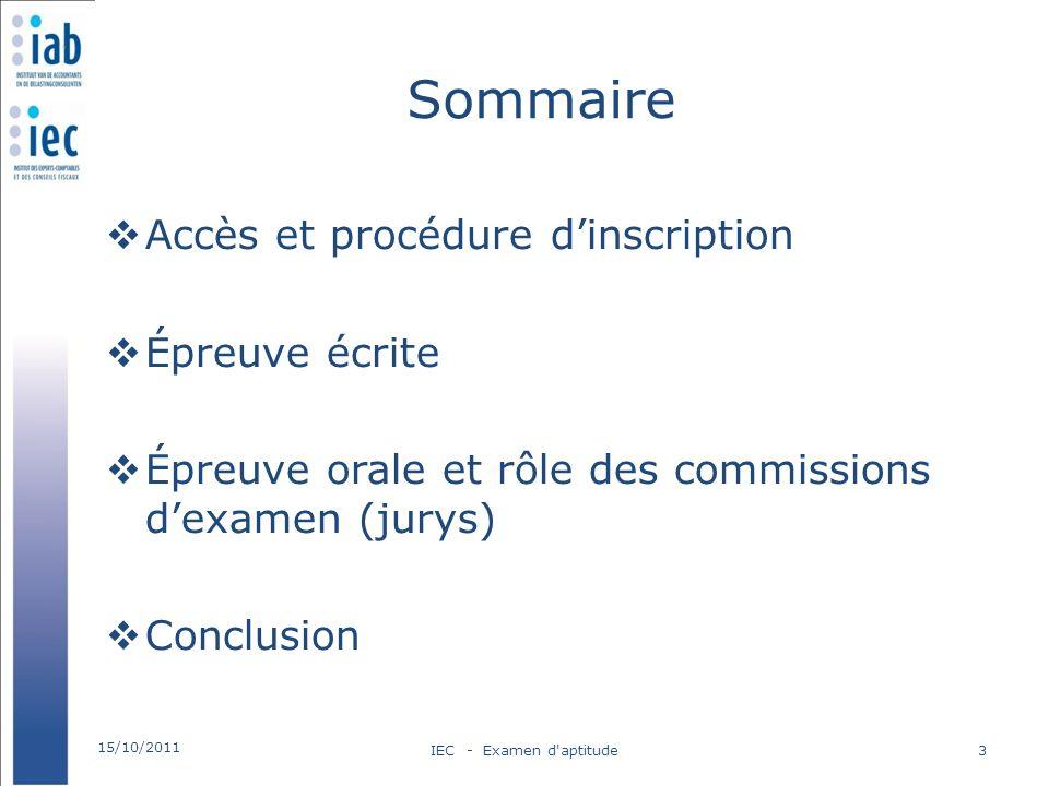 Sommaire Accès et procédure d'inscription Épreuve écrite