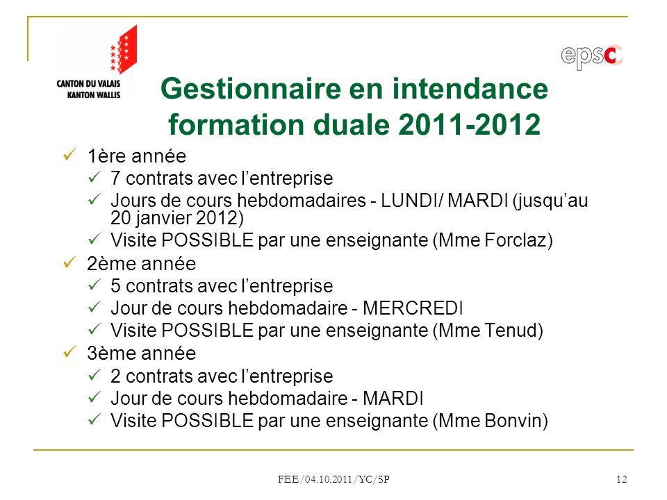 Gestionnaire en intendance formation duale 2011-2012