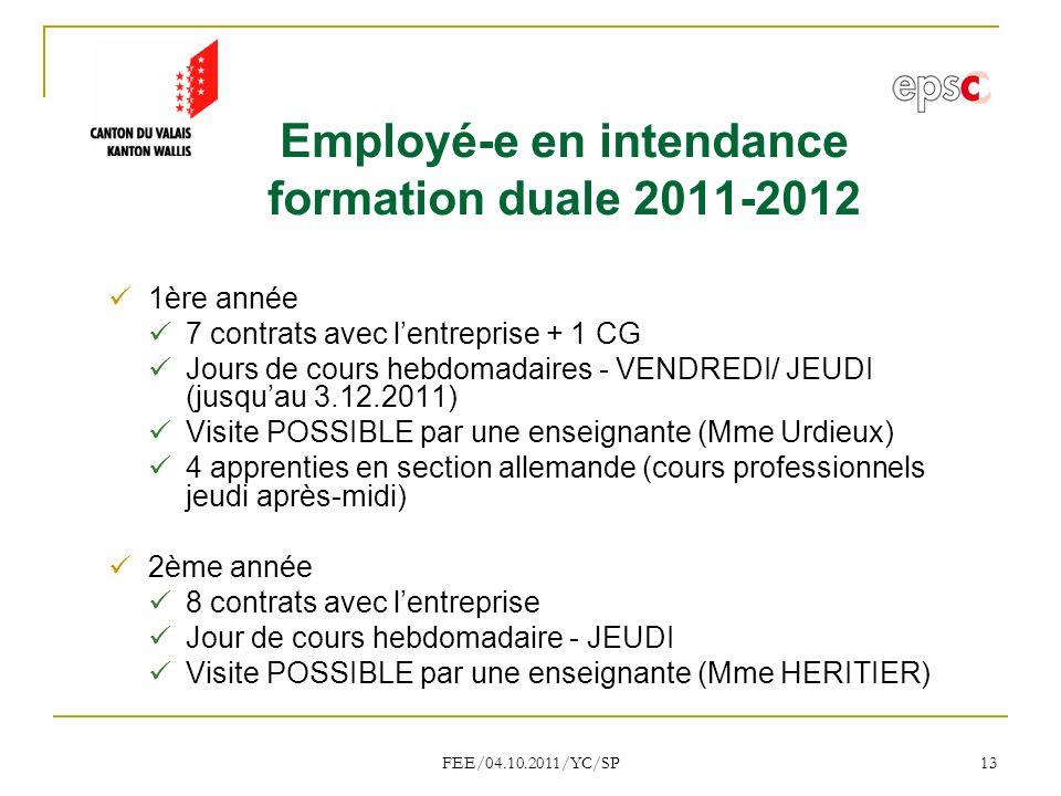 Employé-e en intendance formation duale 2011-2012