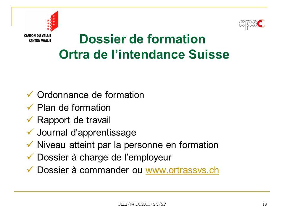 Dossier de formation Ortra de l'intendance Suisse