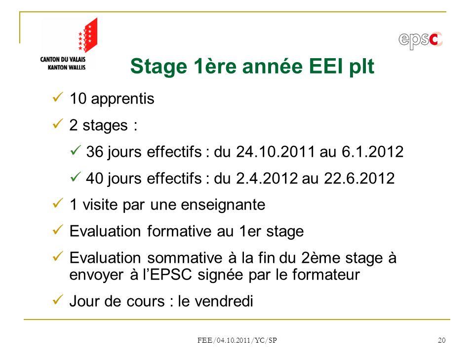 Stage 1ère année EEI plt 10 apprentis 2 stages :