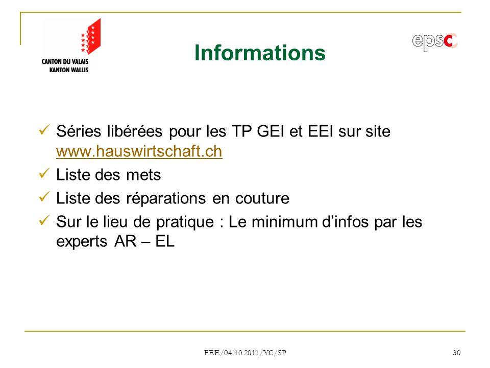 Informations Séries libérées pour les TP GEI et EEI sur site www.hauswirtschaft.ch. Liste des mets.