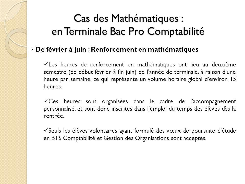 Cas des Mathématiques : en Terminale Bac Pro Comptabilité