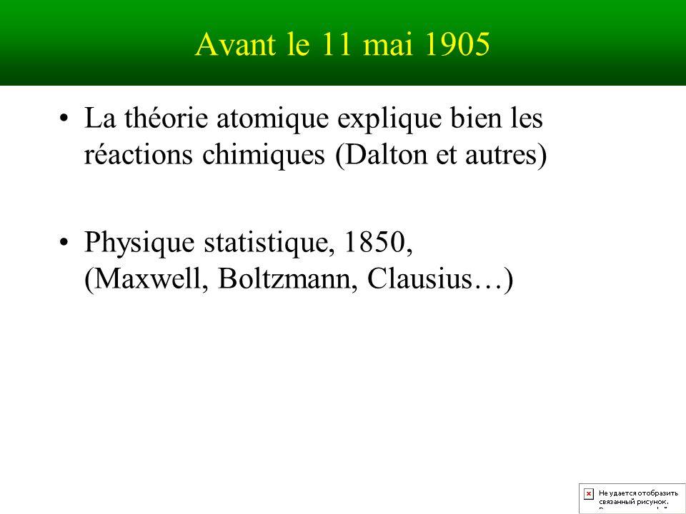 Avant le 11 mai 1905 La théorie atomique explique bien les réactions chimiques (Dalton et autres)
