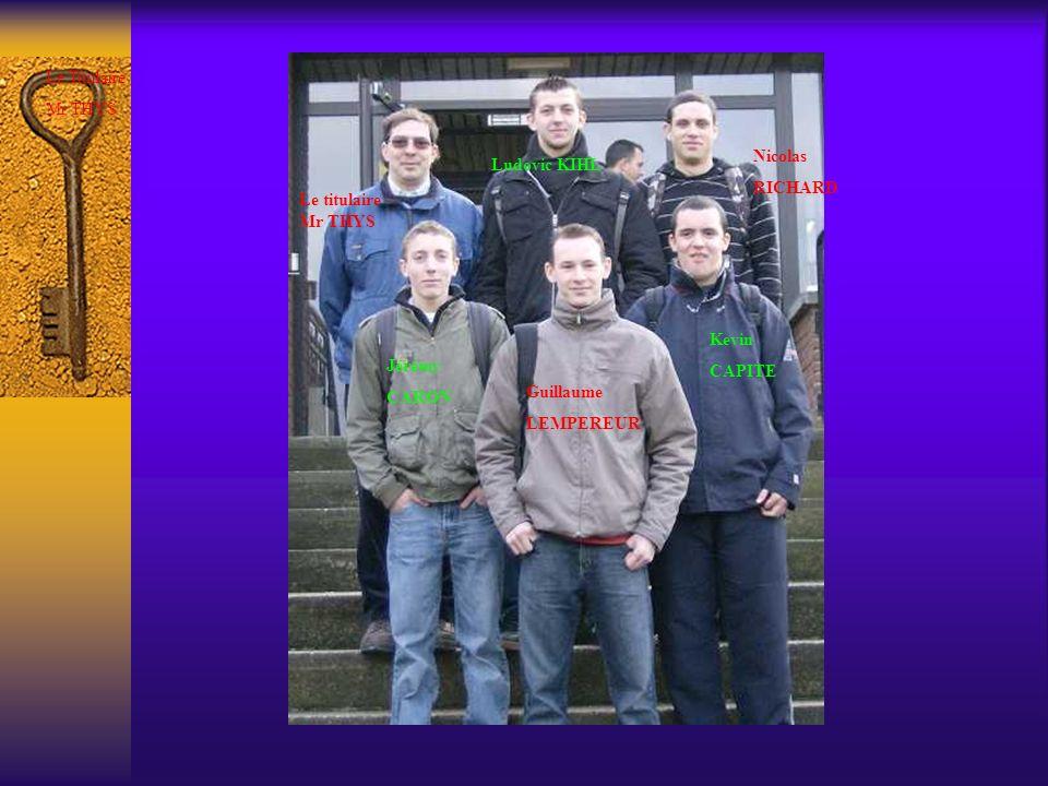 Le Titulaire Mr THYS. Nicolas. RICHARD. Ludovic KIHL. Le titulaire Mr THYS. Kevin. CAPITE. Jérémy.