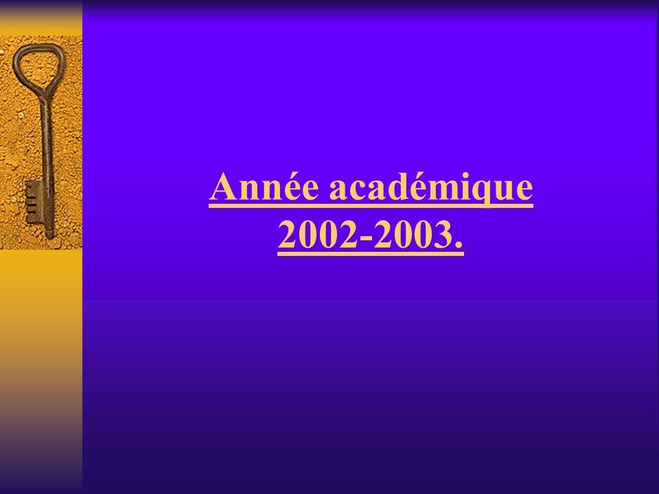 Année académique 2002-2003.