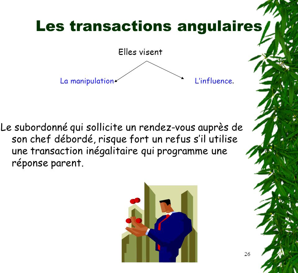 Les transactions angulaires