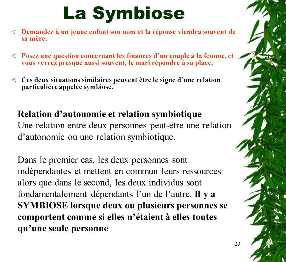 La Symbiose Relation d'autonomie et relation symbiotique