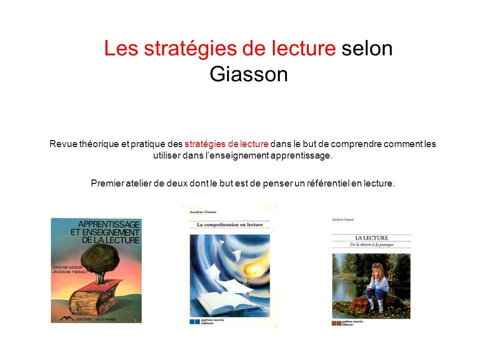 Les stratégies de lecture selon Giasson