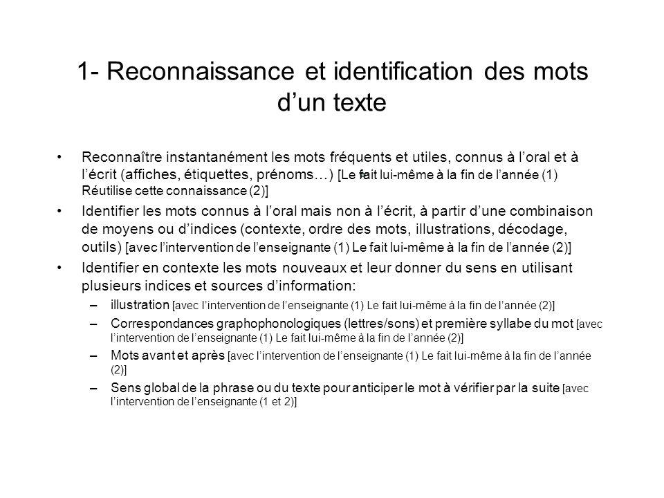 1- Reconnaissance et identification des mots d'un texte
