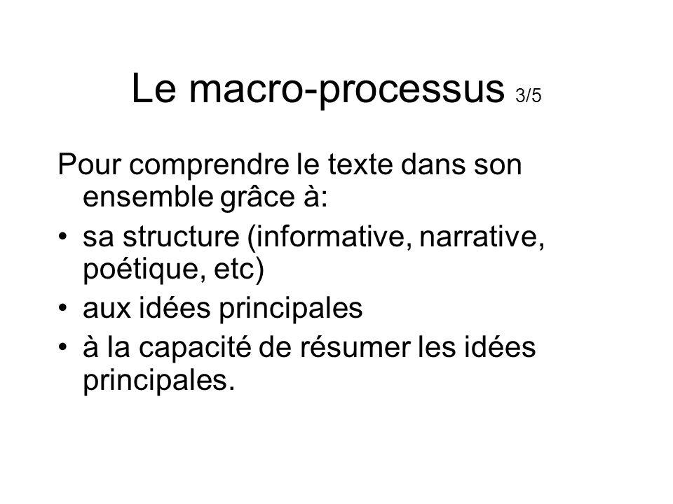 Le macro-processus 3/5 Pour comprendre le texte dans son ensemble grâce à: sa structure (informative, narrative, poétique, etc)