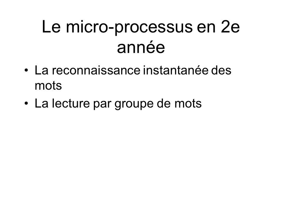 Le micro-processus en 2e année