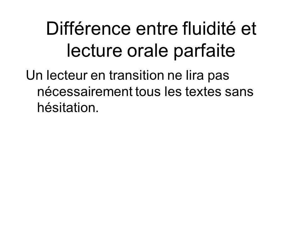 Différence entre fluidité et lecture orale parfaite