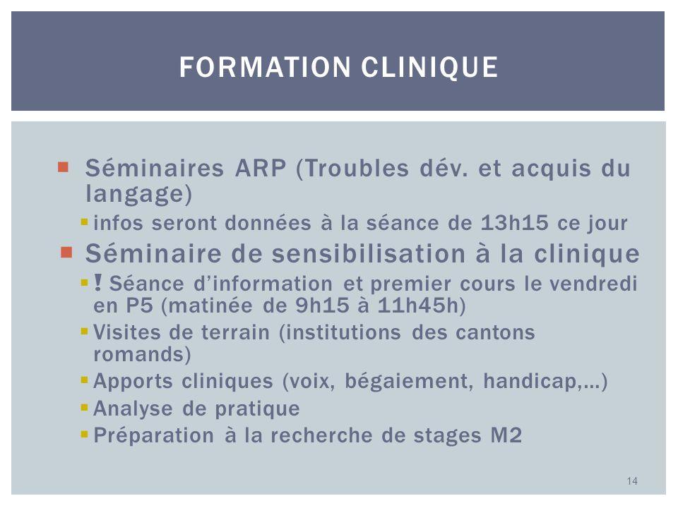 Formation clinique Séminaire de sensibilisation à la clinique