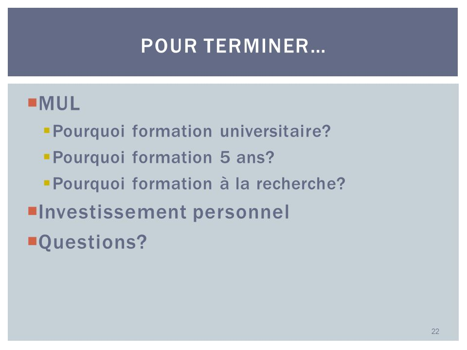 Investissement personnel Questions