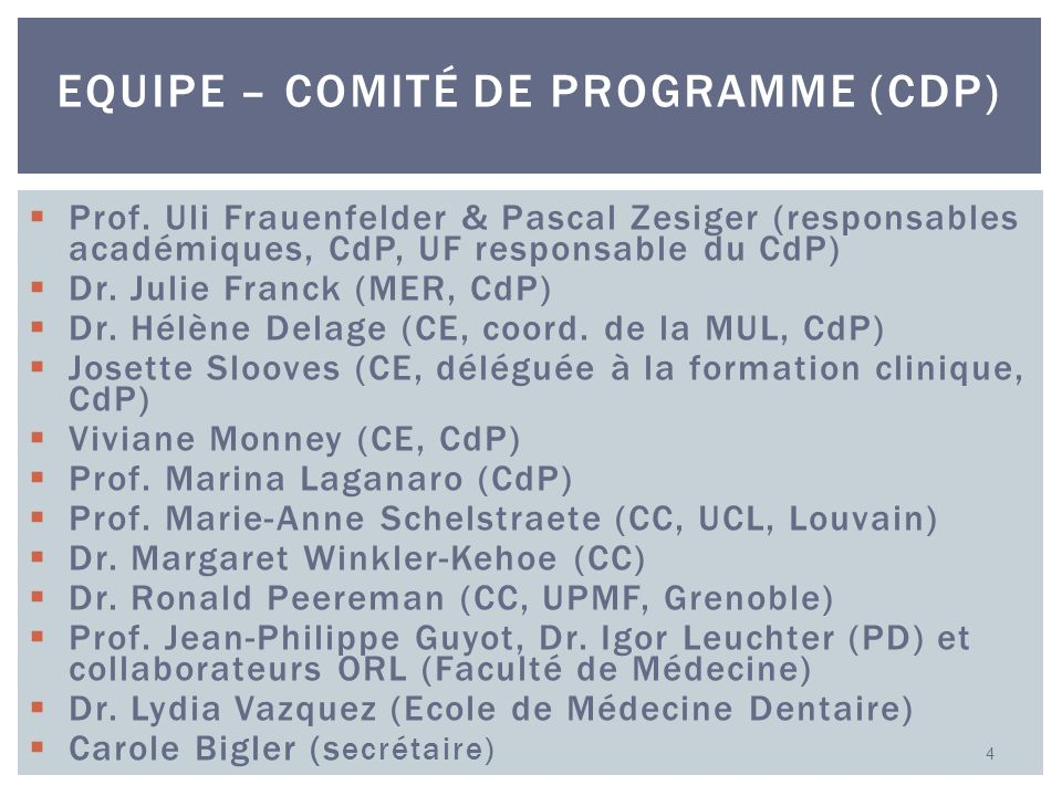 Equipe – comité de programme (CdP)