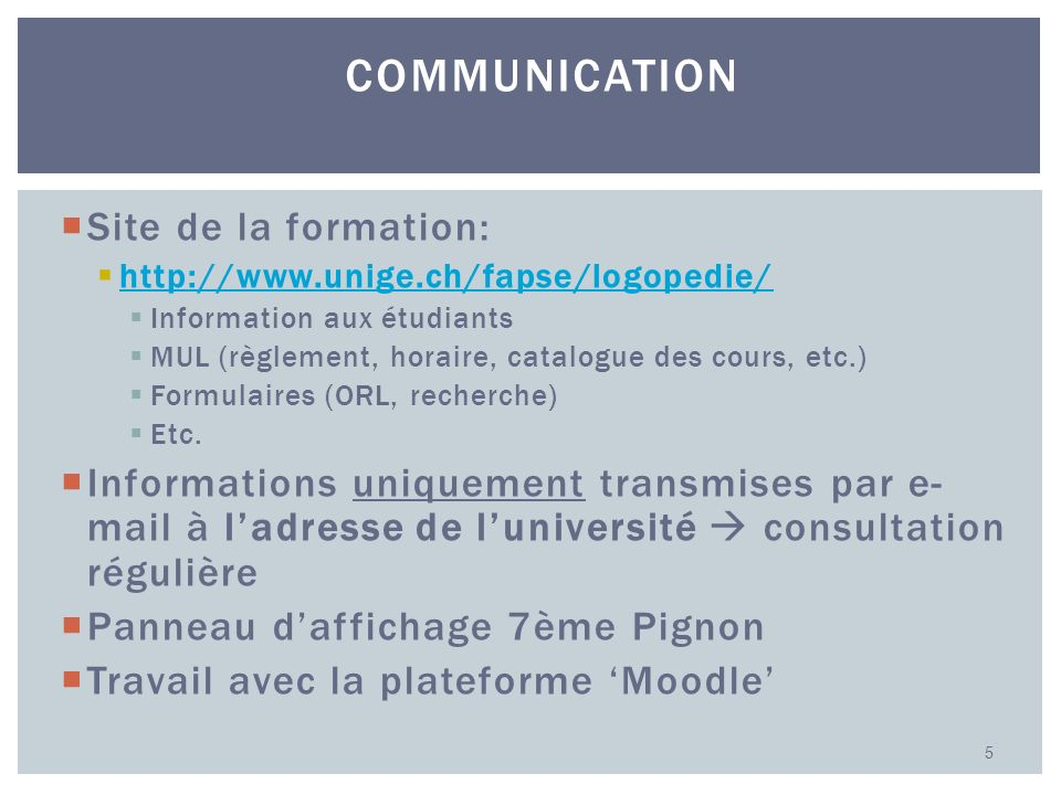 Communication Site de la formation: