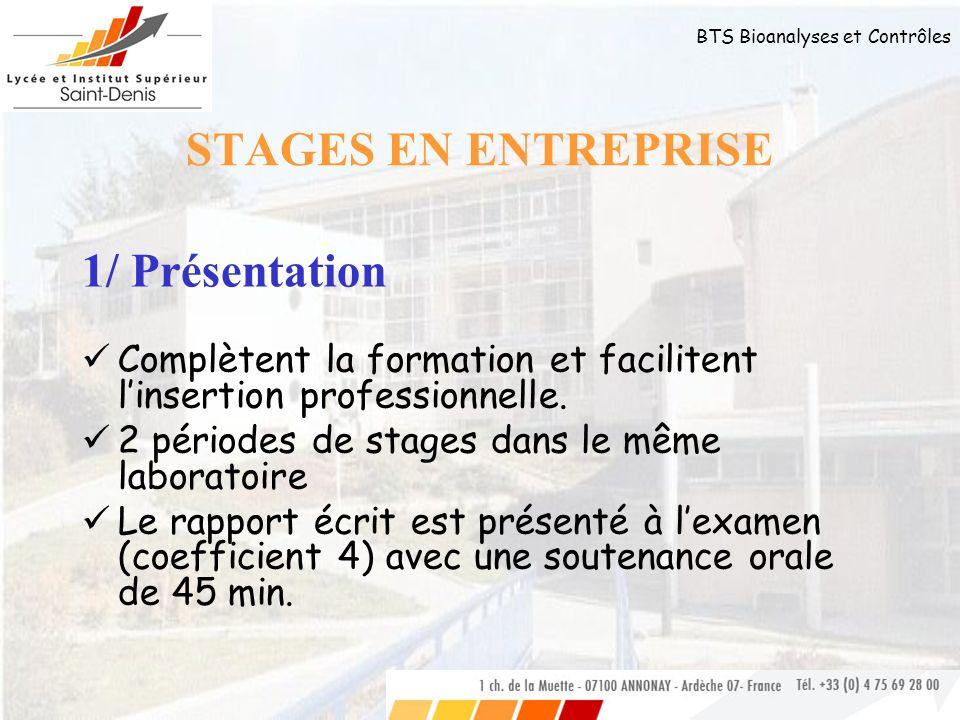 STAGES EN ENTREPRISE 1/ Présentation