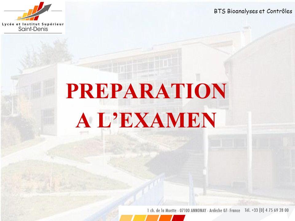 PREPARATION A L'EXAMEN