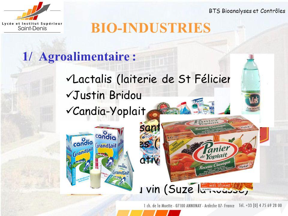 BIO-INDUSTRIES 1/ Agroalimentaire : Lactalis (laiterie de St Félicien)