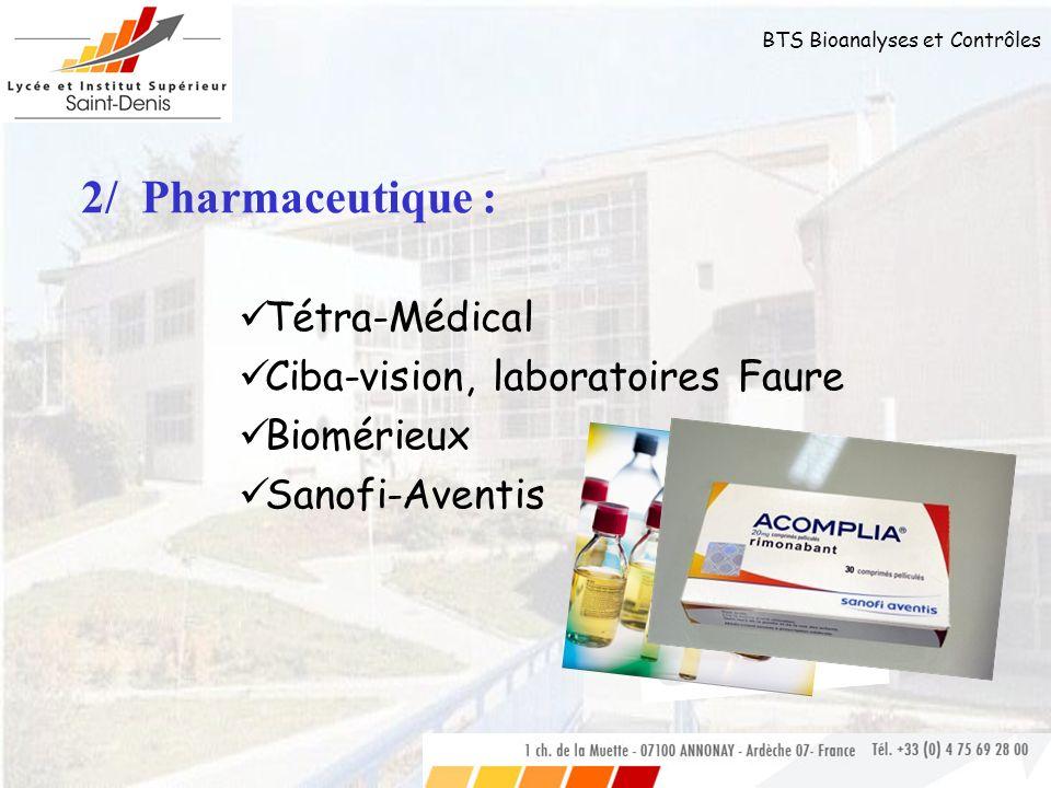 2/ Pharmaceutique : Tétra-Médical Ciba-vision, laboratoires Faure