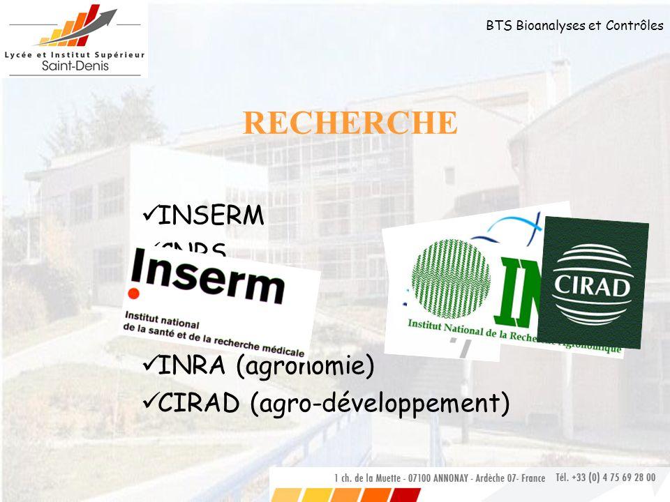 RECHERCHE INSERM CNRS CEA Généthon INRA (agronomie)