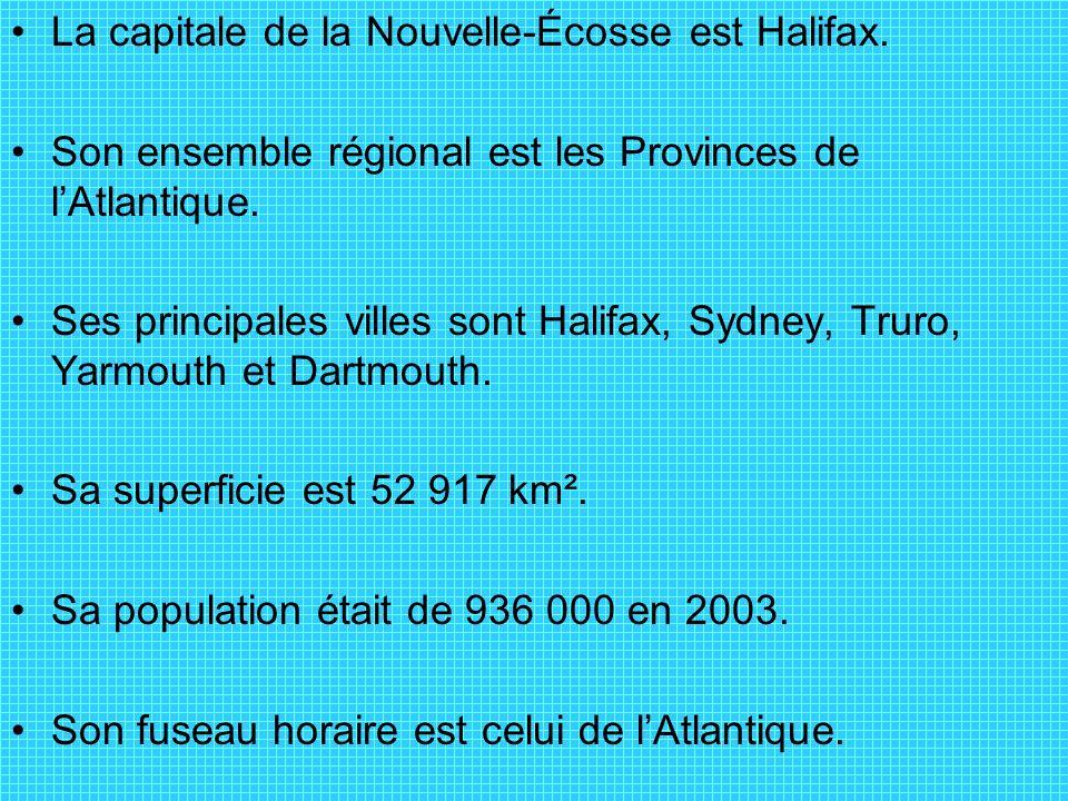 La capitale de la Nouvelle-Écosse est Halifax.