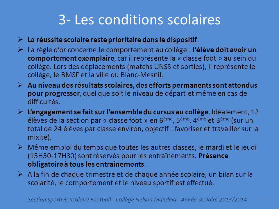 3- Les conditions scolaires