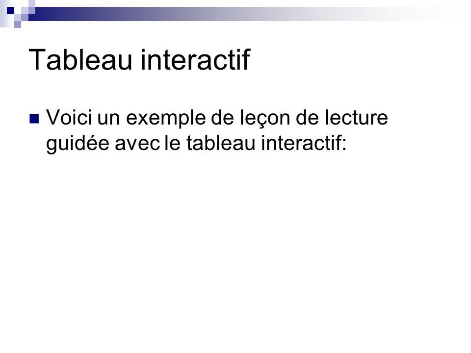 Tableau interactif Voici un exemple de leçon de lecture guidée avec le tableau interactif: